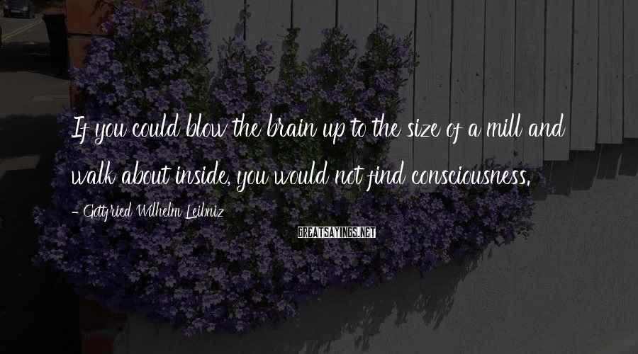 Gottfried Wilhelm Leibniz Sayings: If you could blow the brain up to the size of a mill and walk