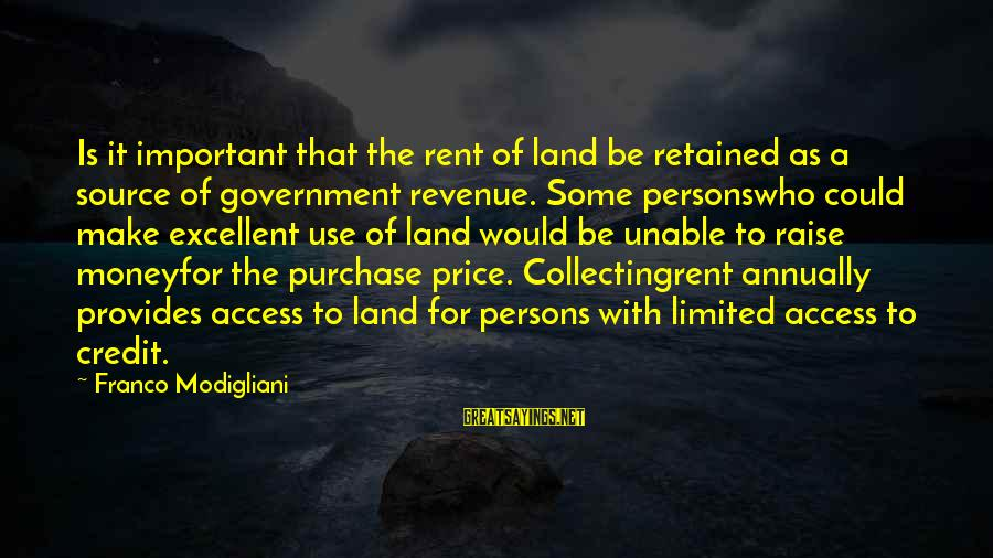 Government Revenue Sayings By Franco Modigliani: Is it important that the rent of land be retained as a source of government