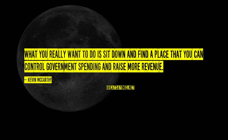 Government Revenue Sayings By Kevin McCarthy: What you really want to do is sit down and find a place that you