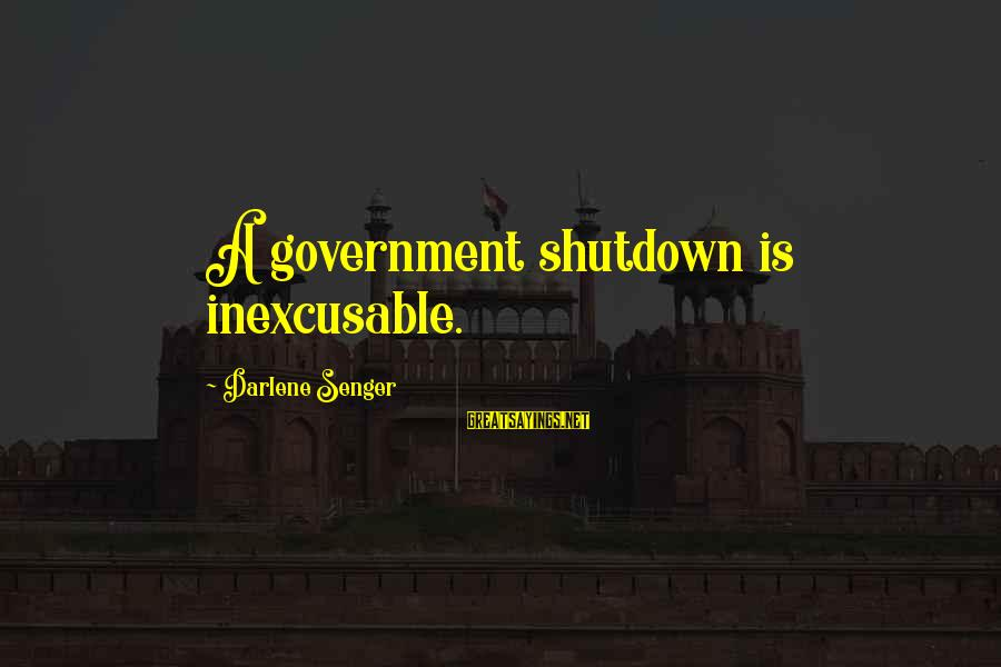 Government Shutdown Sayings By Darlene Senger: A government shutdown is inexcusable.