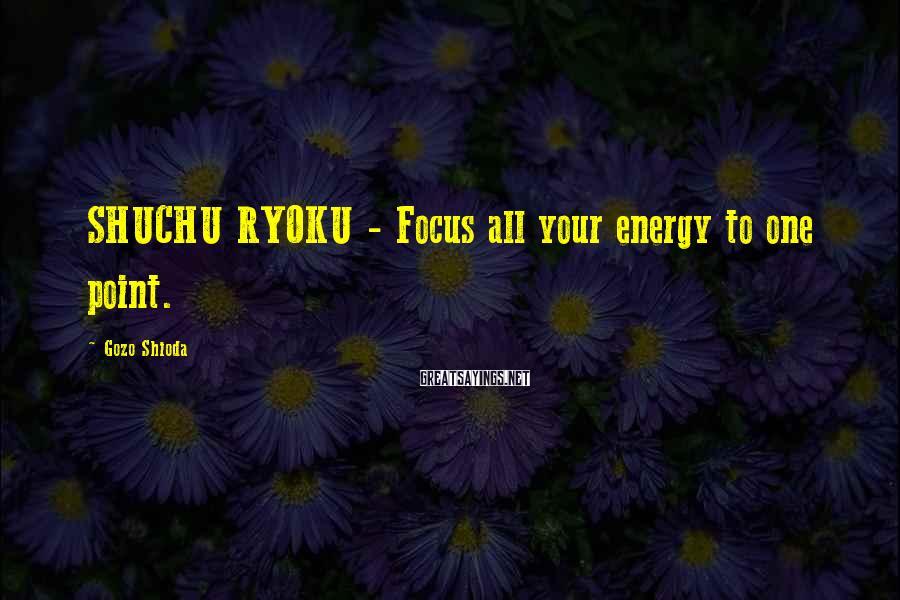 Gozo Shioda Sayings: SHUCHU RYOKU - Focus all your energy to one point.