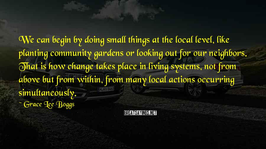 Grace Lee Boggs Sayings: We can begin by doing small things at the local level, like planting community gardens