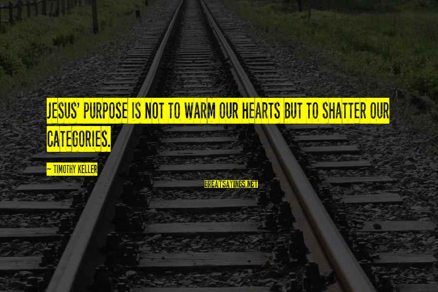 Grammatically Correct Use Of Sayings By Timothy Keller: Jesus' purpose is not to warm our hearts but to shatter our categories.