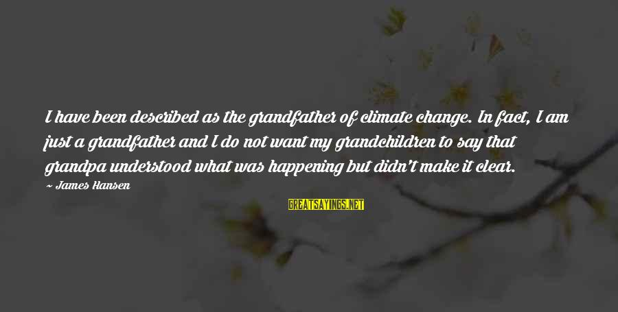Grandfather And Grandchildren Sayings By James Hansen: I have been described as the grandfather of climate change. In fact, I am just