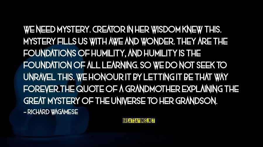 Grandmother Grandson Sayings By Richard Wagamese: We need mystery. Creator in her wisdom knew this. Mystery fills us with awe and