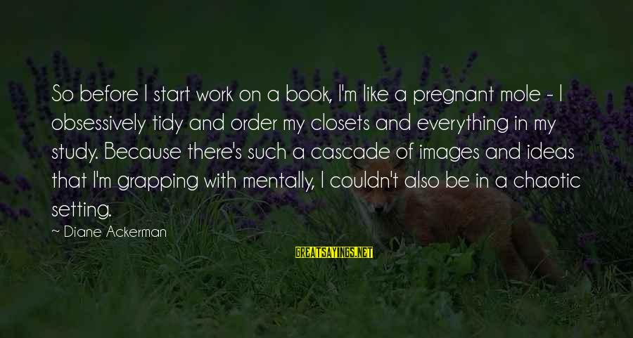 Grapping Sayings By Diane Ackerman: So before I start work on a book, I'm like a pregnant mole - I