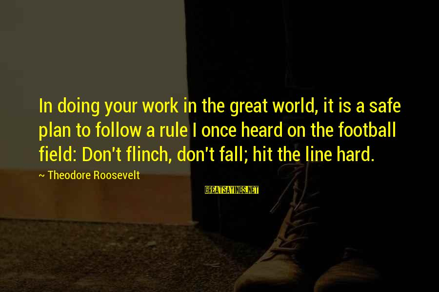 Great 1 Line Sayings By Theodore Roosevelt: In doing your work in the great world, it is a safe plan to follow