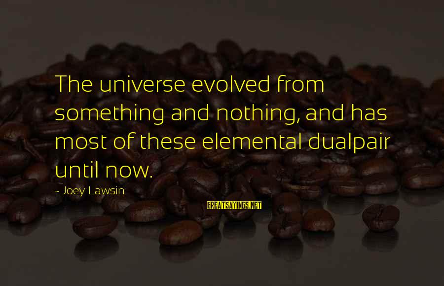 Great Familiarity Sayings By Joey Lawsin: The universe evolved from something and nothing, and has most of these elemental dualpair until