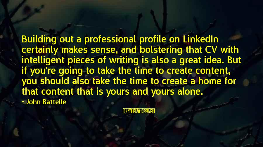 Great Profile Sayings By John Battelle: Building out a professional profile on LinkedIn certainly makes sense, and bolstering that CV with