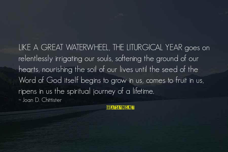 Great Souls Sayings By Joan D. Chittister: LIKE A GREAT WATERWHEEL, THE LITURGICAL YEAR goes on relentlessly irrigating our souls, softening the