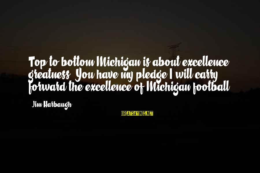 Greatness Football Sayings By Jim Harbaugh: Top to bottom Michigan is about excellence, greatness. You have my pledge I will carry