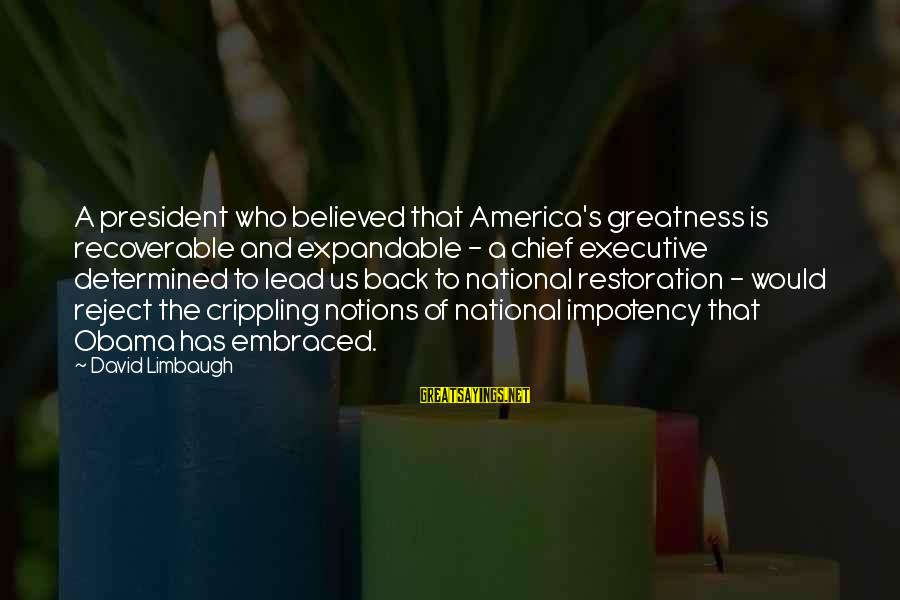 Greatness Of America Sayings By David Limbaugh: A president who believed that America's greatness is recoverable and expandable - a chief executive