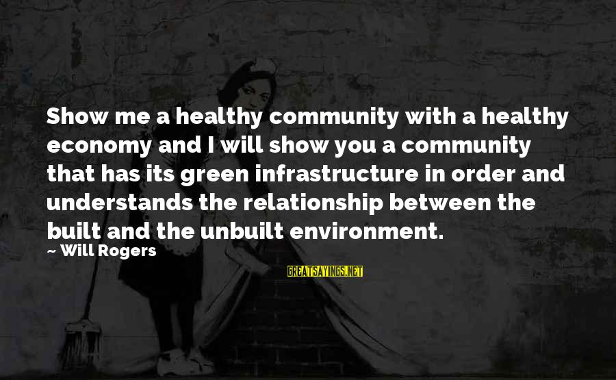 Green Infrastructure Sayings By Will Rogers: Show me a healthy community with a healthy economy and I will show you a