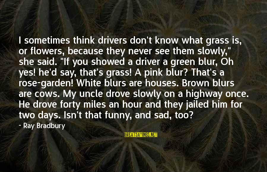 Green Miles Sayings By Ray Bradbury: I sometimes think drivers don't know what grass is, or flowers, because they never see