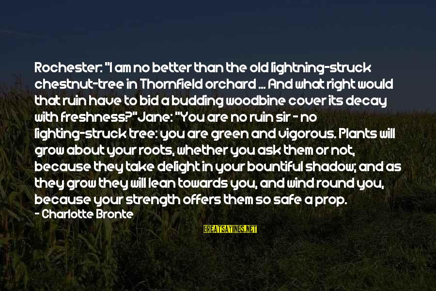 """Green Plants Sayings By Charlotte Bronte: Rochester: """"I am no better than the old lightning-struck chestnut-tree in Thornfield orchard ... And"""