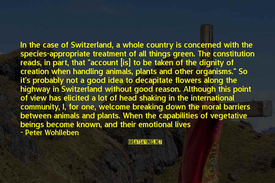 Green Plants Sayings By Peter Wohlleben: In the case of Switzerland, a whole country is concerned with the species-appropriate treatment of