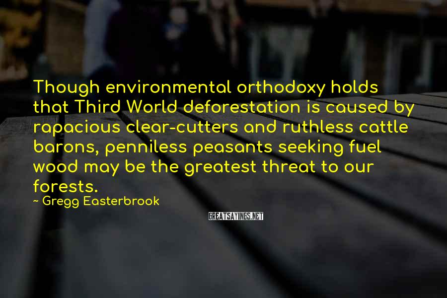 Gregg Easterbrook Sayings: Though environmental orthodoxy holds that Third World deforestation is caused by rapacious clear-cutters and ruthless
