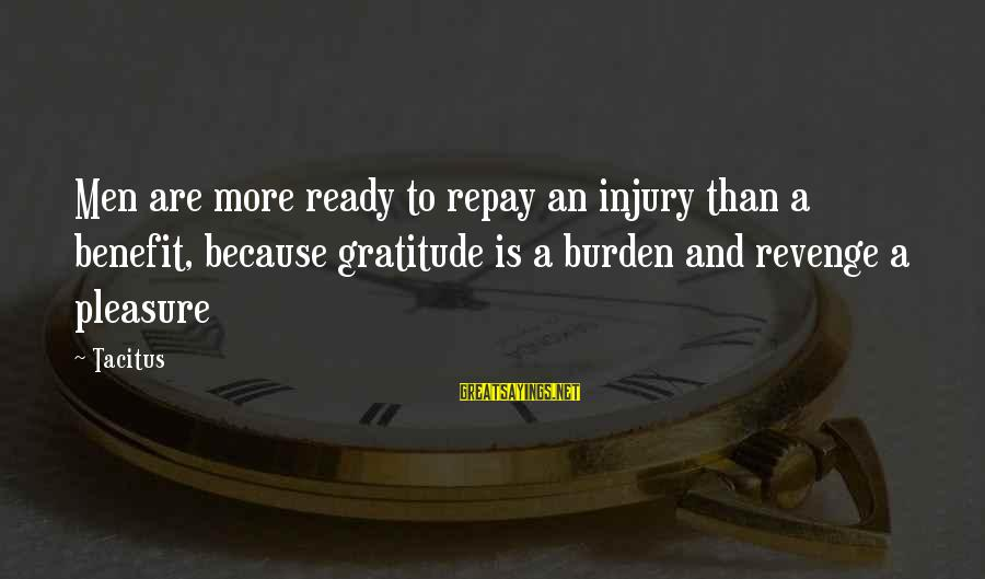 Gregory Peck Ahab Sayings By Tacitus: Men are more ready to repay an injury than a benefit, because gratitude is a