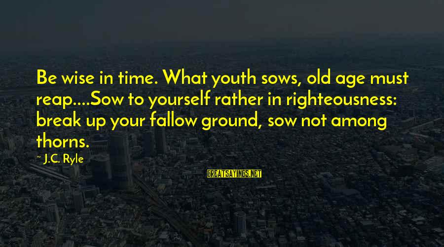 Ground Yourself Sayings By J.C. Ryle: Be wise in time. What youth sows, old age must reap....Sow to yourself rather in