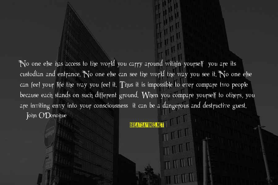 Ground Yourself Sayings By John O'Donohue: No one else has access to the world you carry around within yourself; you are