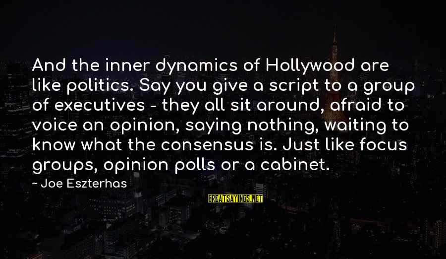 Groups Dynamics Sayings By Joe Eszterhas: And the inner dynamics of Hollywood are like politics. Say you give a script to