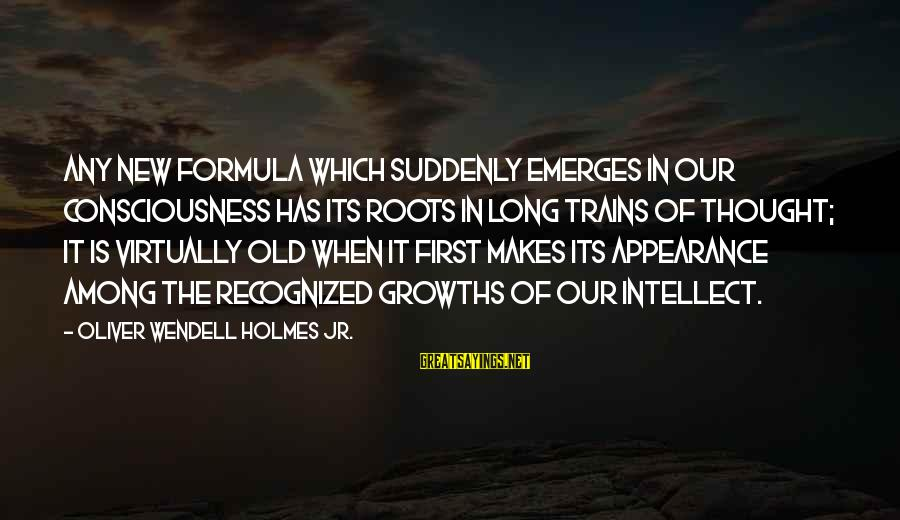 Growths Sayings By Oliver Wendell Holmes Jr.: Any new formula which suddenly emerges in our consciousness has its roots in long trains