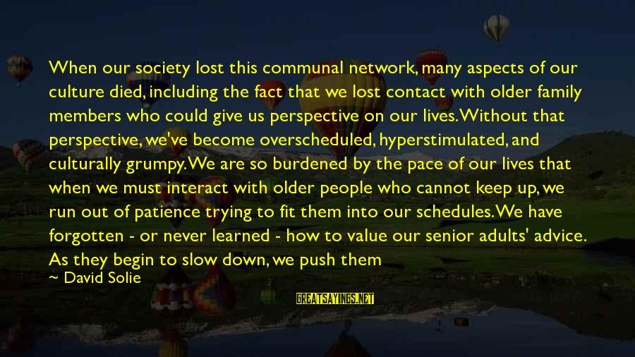 Grumpy People Sayings By David Solie: When our society lost this communal network, many aspects of our culture died, including the