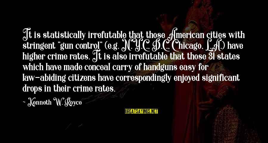 """Gun Carry Sayings By Kenneth W. Royce: It is statistically irrefutable that those American cities with stringent """"gun control"""" (e.g. N.Y.C., D.C.,"""
