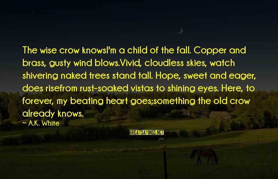 Gusty Sayings By A.K. White: The wise crow knowsI'm a child of the fall. Copper and brass, gusty wind blows.Vivid,