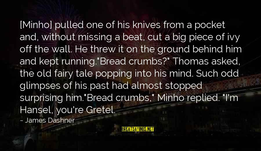 Hansel Sayings By James Dashner: [Minho] pulled one of his knives from a pocket and, without missing a beat, cut
