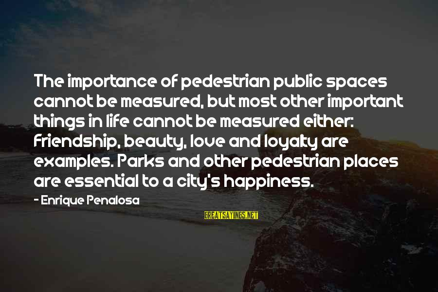 Happiness Friendship Sayings By Enrique Penalosa: The importance of pedestrian public spaces cannot be measured, but most other important things in