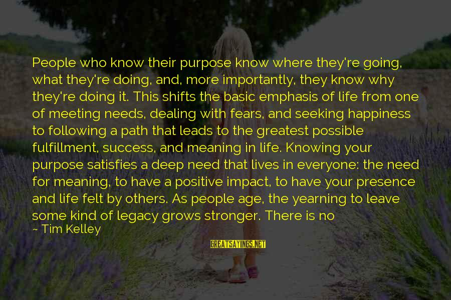 Happiness Is Meeting You Sayings By Tim Kelley: People who know their purpose know where they're going, what they're doing, and, more importantly,