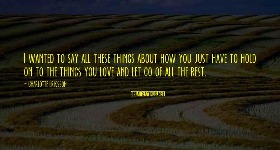 Happy Life Thoughts Sayings By Charlotte Eriksson: I wanted to say all these things about how you just have to hold on