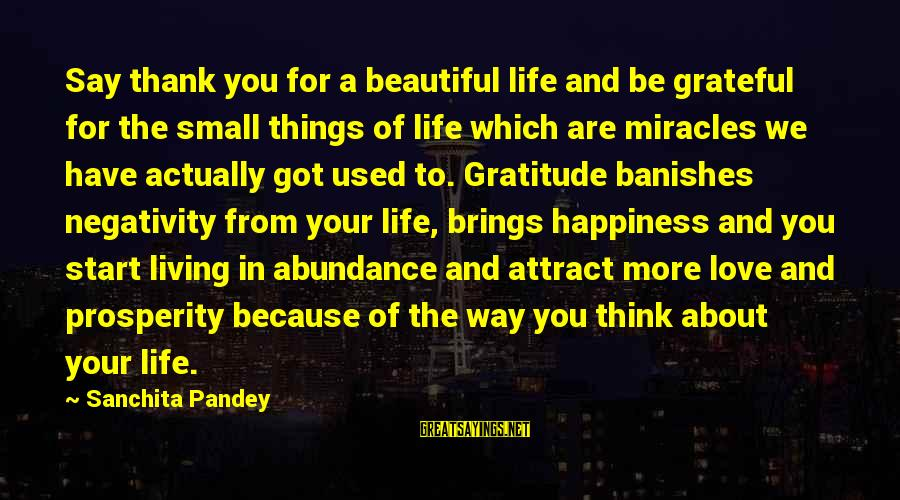 Happy Life Thoughts Sayings By Sanchita Pandey: Say thank you for a beautiful life and be grateful for the small things of