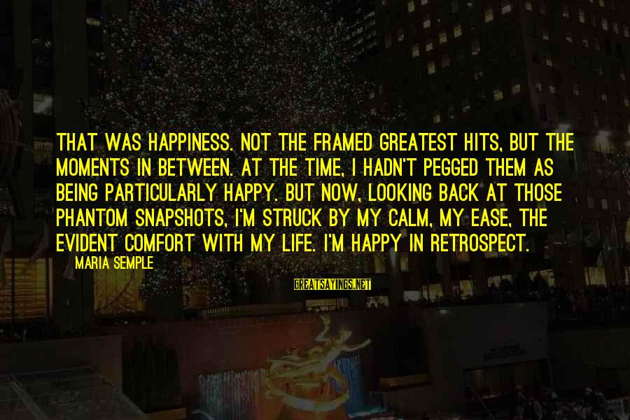 Happy Moments In Life Sayings By Maria Semple: That was happiness. Not the framed greatest hits, but the moments in between. At the