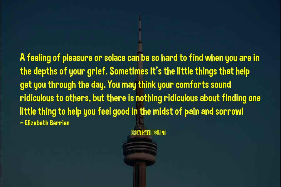 Hard Day Inspirational Sayings By Elizabeth Berrien: A feeling of pleasure or solace can be so hard to find when you are