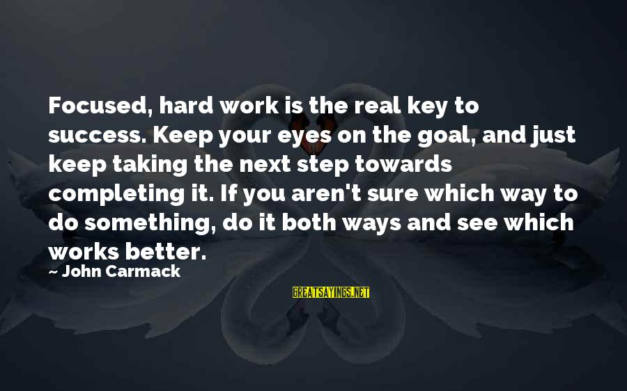 Hard Work Key Success Sayings By John Carmack: Focused, hard work is the real key to success. Keep your eyes on the goal,