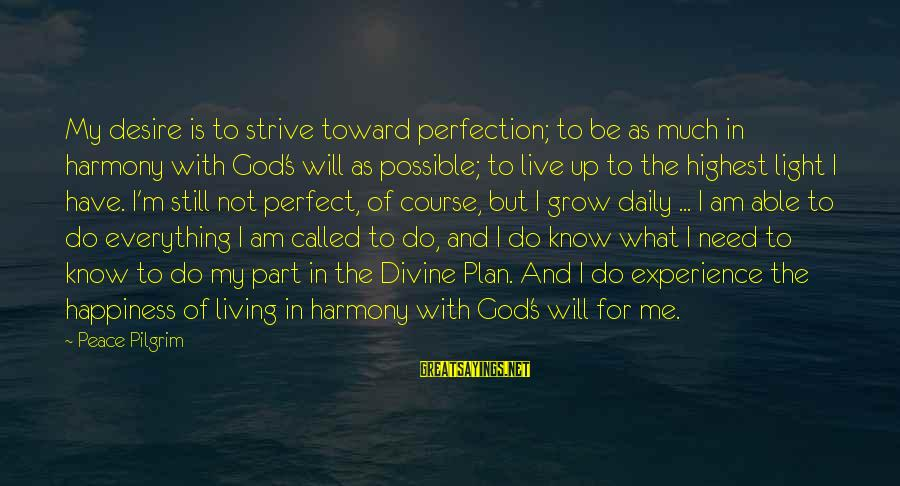 Harmony With God Sayings By Peace Pilgrim: My desire is to strive toward perfection; to be as much in harmony with God's