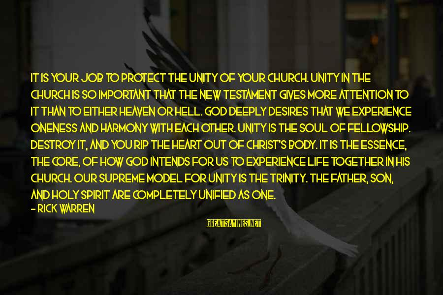 Harmony With God Sayings By Rick Warren: IT IS YOUR JOB TO PROTECT THE UNITY OF YOUR CHURCH. Unity in the church