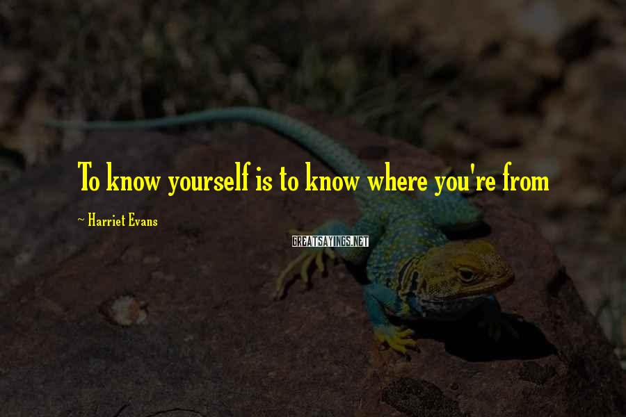 Harriet Evans Sayings: To know yourself is to know where you're from