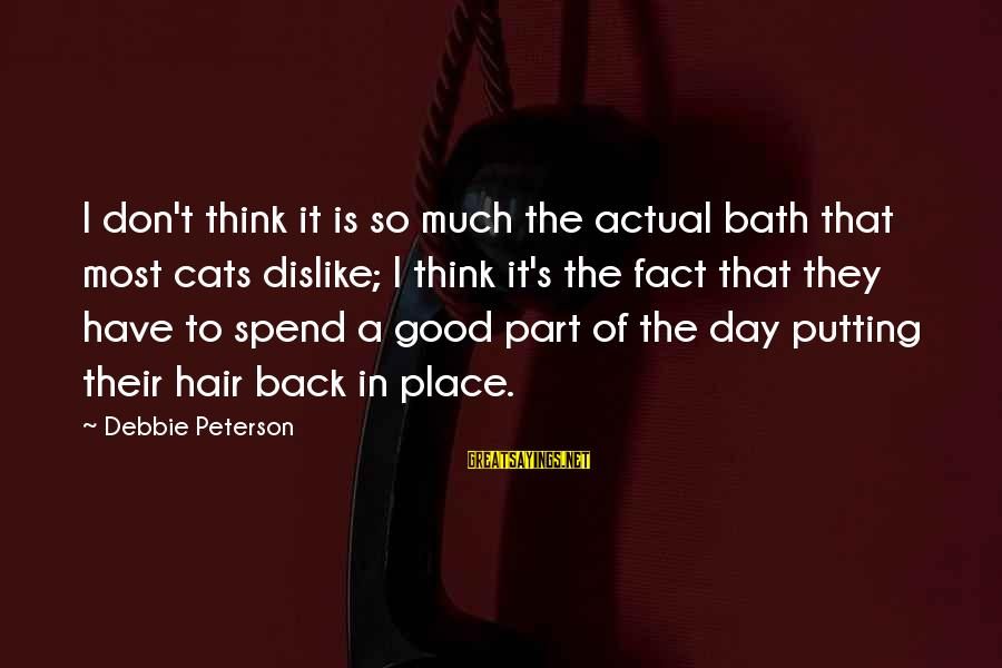 Have A Good Day Sayings By Debbie Peterson: I don't think it is so much the actual bath that most cats dislike; I