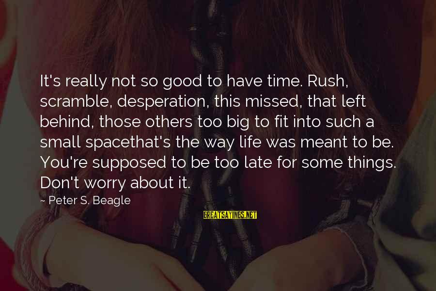 Have A Good Life Sayings By Peter S. Beagle: It's really not so good to have time. Rush, scramble, desperation, this missed, that left