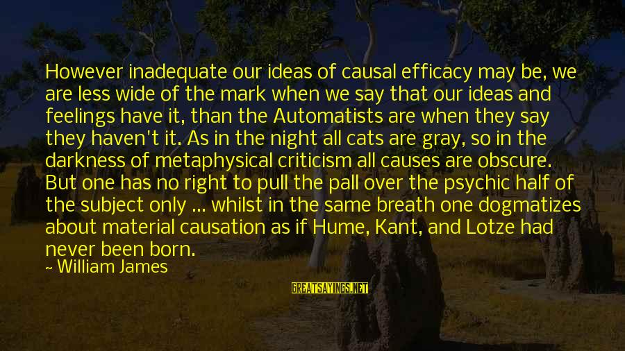 Have No One Sayings By William James: However inadequate our ideas of causal efficacy may be, we are less wide of the