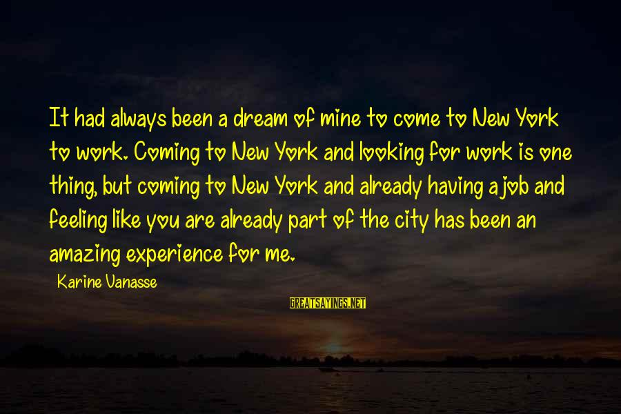 Having A New Job Sayings By Karine Vanasse: It had always been a dream of mine to come to New York to work.