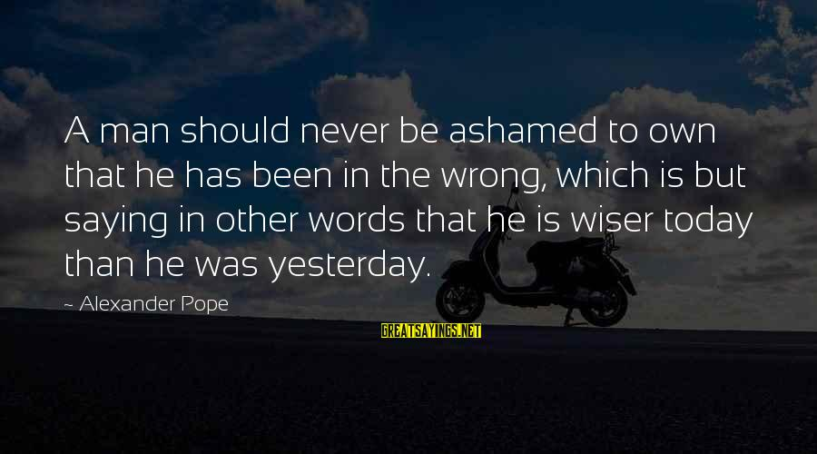 He Was Wrong Sayings By Alexander Pope: A man should never be ashamed to own that he has been in the wrong,