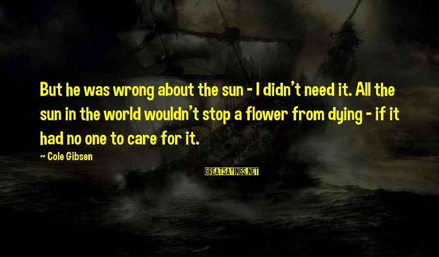 He Was Wrong Sayings By Cole Gibsen: But he was wrong about the sun - I didn't need it. All the sun