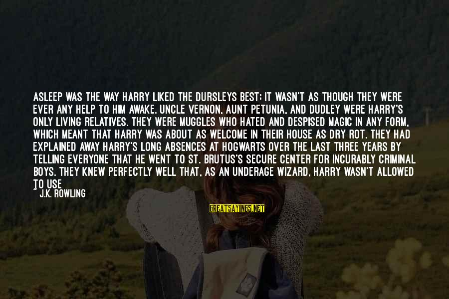 He Was Wrong Sayings By J.K. Rowling: Asleep was the way Harry liked the Dursleys best; it wasn't as though they were