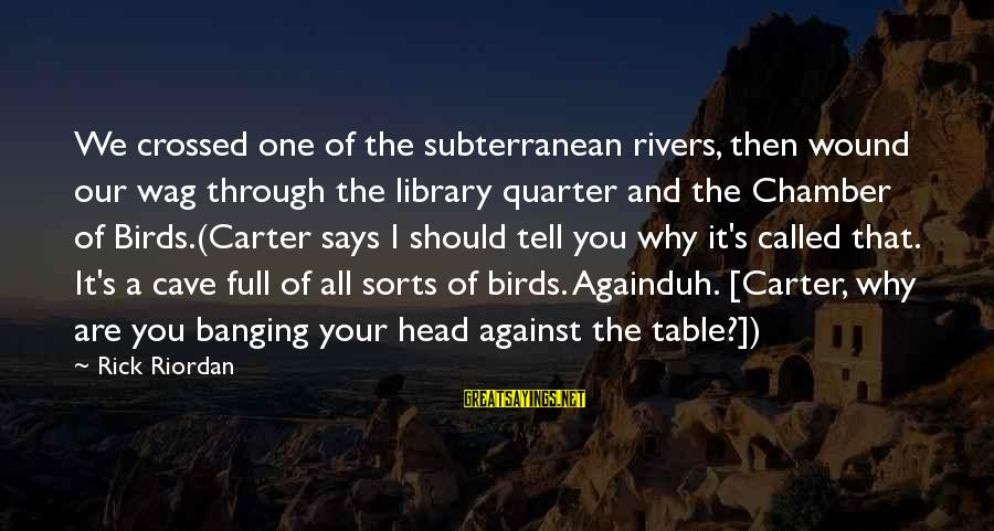 Head Banging Sayings By Rick Riordan: We crossed one of the subterranean rivers, then wound our wag through the library quarter