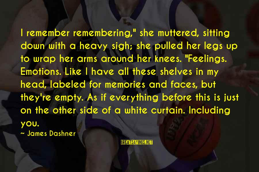 "Head Wrap Sayings By James Dashner: I remember remembering,"" she muttered, sitting down with a heavy sigh; she pulled her legs"