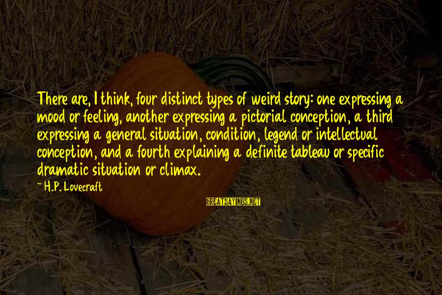 Health And Hygiene Sayings By H.P. Lovecraft: There are, I think, four distinct types of weird story: one expressing a mood or